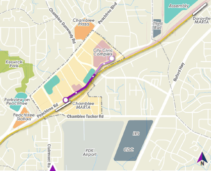 Core route and city civic complex