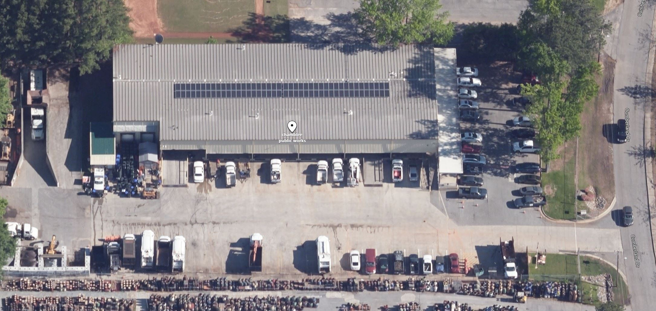 Image of solar panels installed on roof of Chamblee Public Works Building.