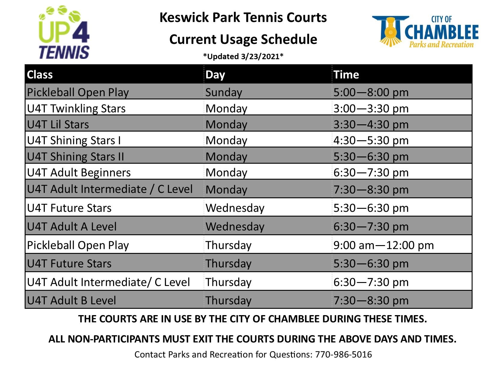 Spring 2021 Keswick Courts Fence Schedule