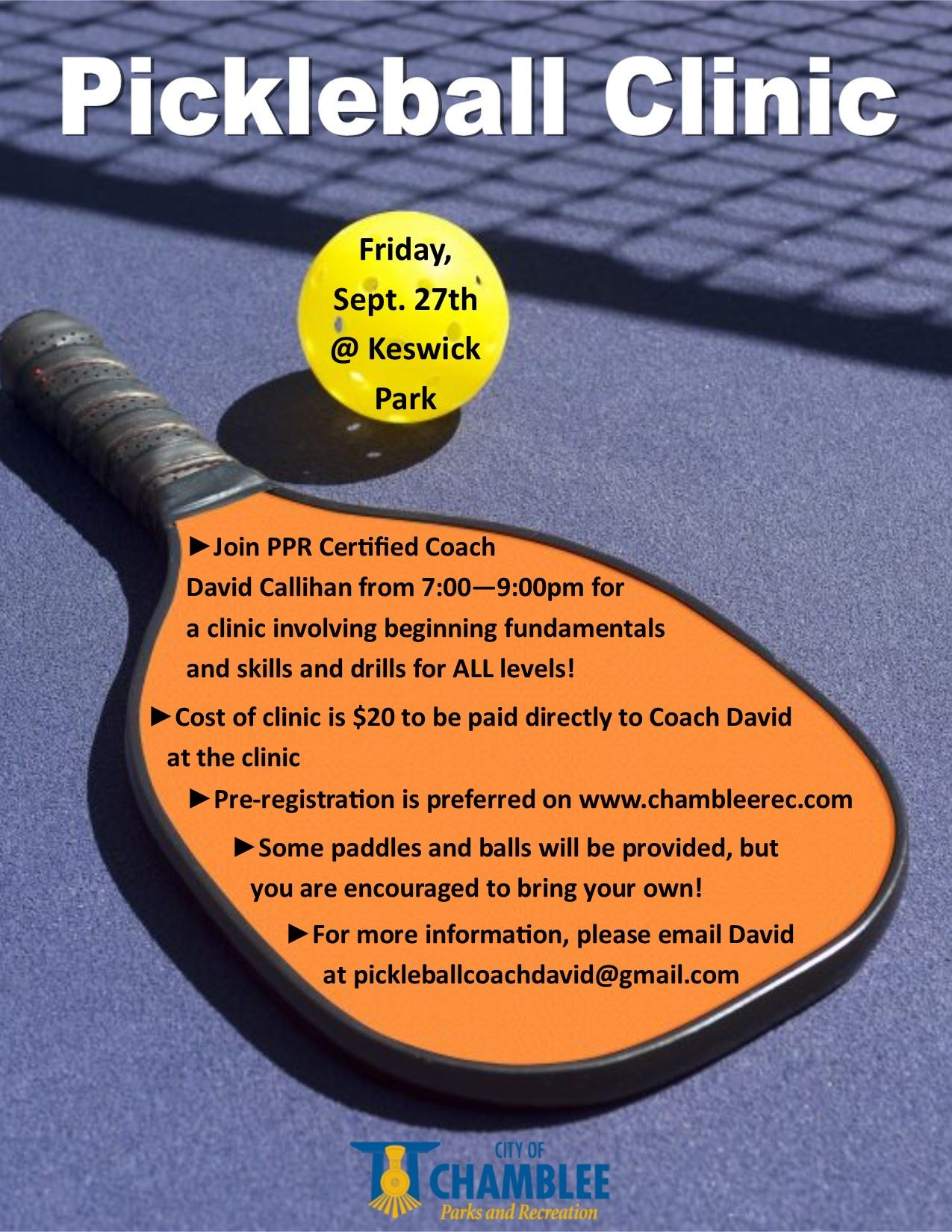 Pickleball Clinic September 2019
